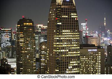erstaunlich, tokyo, skyline, nacht