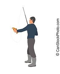 ertappen, fischer, stange, fischerei, abbildung