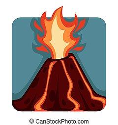 erupção vulcânico, lava, imprevisível, quentes, córregos,...