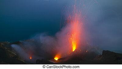 erupción, salida del sol