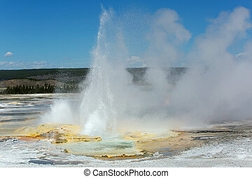 erupting geyser in Yellowstone