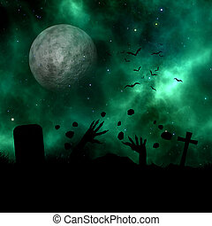 erupting, silhouette, spazio, cielo, 3d, contro, zombie, fuori, paesaggio, suolo