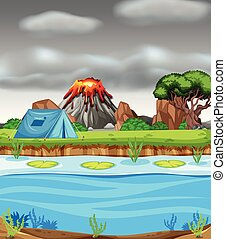 Erupting volcano and camping scene