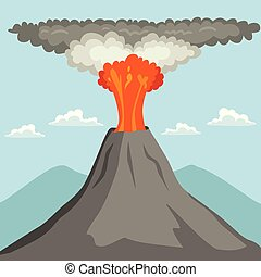 Erupting Volcano - Erupting volcano spewing out lava and ash...