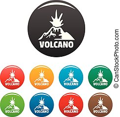 Erupting volcano icons set color