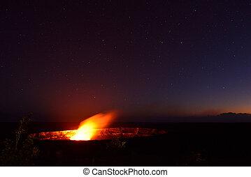 Erupting volcano in Hawaii Volcanoes National Park, Big Island, Hawaii