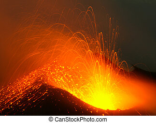 Erupting volcano Stromboli - close view