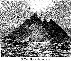 Erupting volcano, Stromboli, Italy, vintage engraving.