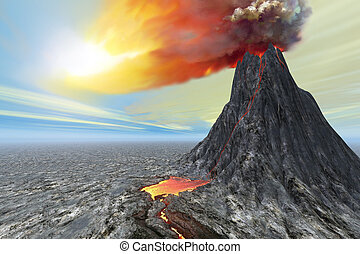 ERUPTION - A new volcano bursts forth with hot lava and...