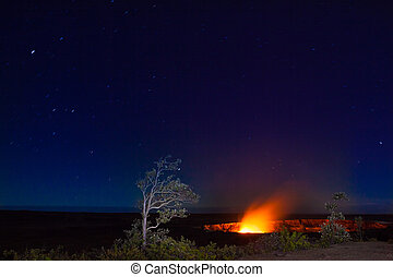 Eruption at night