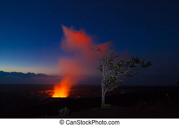 Eruption at night - Starry night photos of erupting volcano...