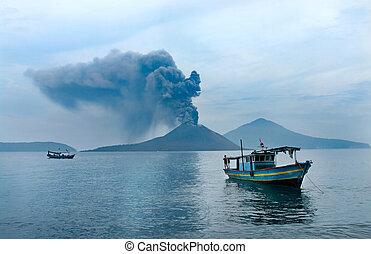 eruption., indonésie, bateau, anak, volcan, krakatau.