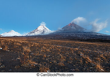 Eruption Klyuchevskoy Volcano in Kamchatka Peninsula