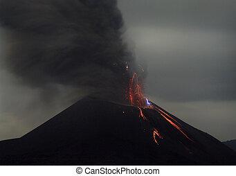 eruption., nuit, indonésie, krakatau, anak, volcan