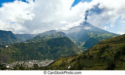 Eruption of a volcano Tungurahua, Cordillera Occidental of the Andes of central Ecuador, South America