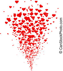 Eruption of hearts, heart icons - Explosion of red hearts...