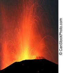 eruption of mount Stromboli volcano - Strombolian eruption...