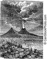 Eruption of Mount Vesuvius, in Naples, Italy, vintage...