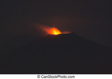 Eruption of Sicilian volcano Etna at nigh