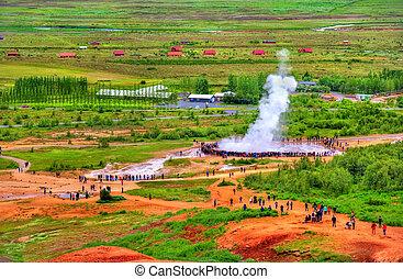 Eruption of Strokkur geyser in Iceland