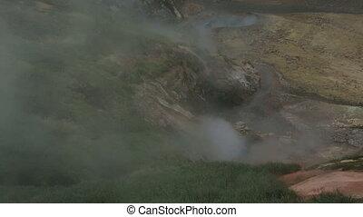 Eruption of the geyser Bolshoy in Valley of Geysers....