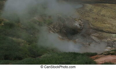 Eruption of the geyser Bolshoy in Valley of Geysers stock...
