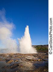 Eruption of the geyser in Iceland - Eruption of the Geysir...
