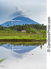 Eruption of volcano Agung in Bali island - Eruption of...