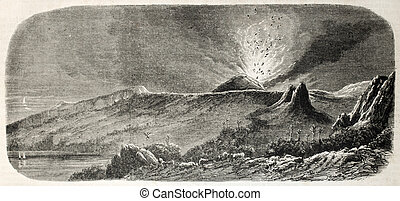 Eruption on Reunion island - Antique illustration of volcano...