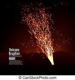 Eruption Volcano Vector. Thunderstorm Sparks. Big And Heavy...