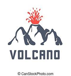 eruzione, illustrazione, vettore, fondo, vulcano, bianco,...