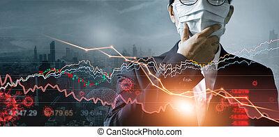 eruzione, stock, impatto, corona, virus, pandemia, uomo affari, effetti, analisi, affari, mercato, covid-19, fall., economico, crisi, finanziario, condizioni, crisi, maschera, economia globale