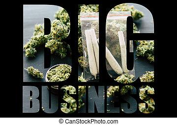erva daninha, marijuana, cima, moedor, marijuana, experiência., pretas, rolado, negócio grande, escuro, conjunto, fundo, mãos, fumar, erva daninha, homem, jamb, conceitos, vista superior