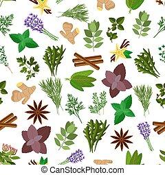 erva fresca, tempero, condimento, seamless, padrão