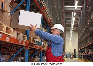 ervaren, arbeider, met, doosje, in, magazijn