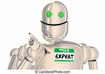 ervaren, deskundig, robot, illustratie, professioneel, hallo, 3d