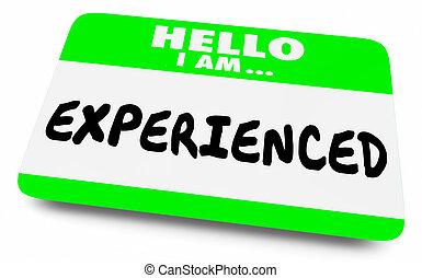 ervaren, kennis, deskundig, illustratie, noem etiket, vaardigheid, 3d