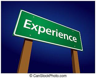ervaring, groene, straat, illustratie, meldingsbord