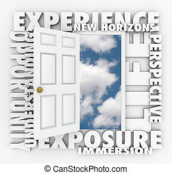 ervaring, nieuw, horizonnen, deur, opent, toonaangevend, om te, gelegenheid