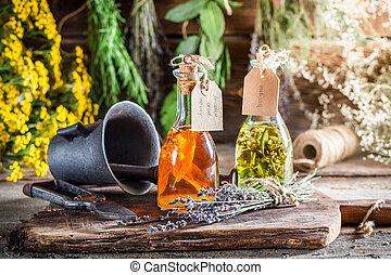 ervas, alternativa, cura, garrafas, caseiro