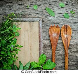 ervas, aromático, temperos