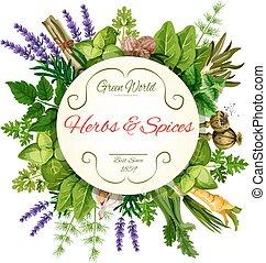 ervas frescas, e, temperos, redondo, etiqueta, para, alimento, desenho