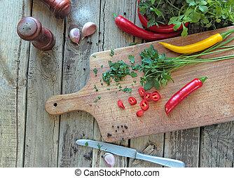 ervas, legumes, fresco, cozinha, escrivaninha