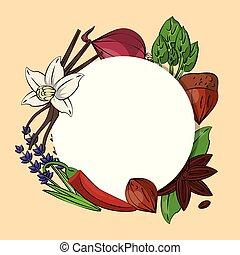 ervas temperos, ícones