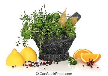 ervas, temperos, e, fruta cítrica