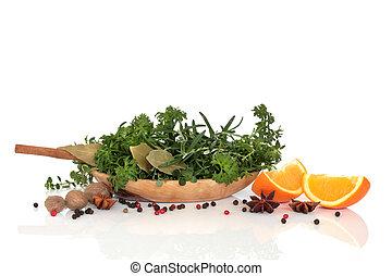 ervas, temperos, e, laranja, fruta