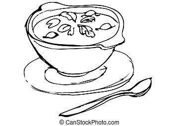 ervas, tigela, logo, colher sopa, mentindo
