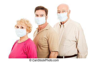 erwachsener, familie, -, grippe, schutz