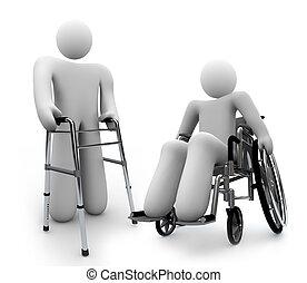 erwerbsunfähigkeit, -, behinderten, person, in, rollstuhl, und, eins, wth, gehhilfe