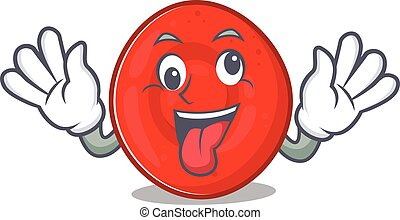 Erythrocyte cell Cartoon character style with a crazy face. ...